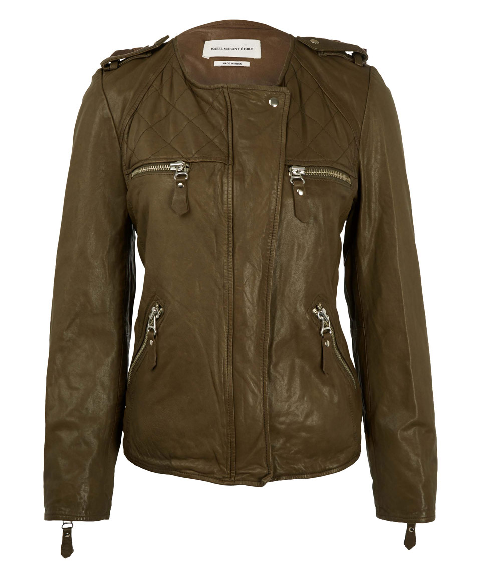 Khaki leather jacket