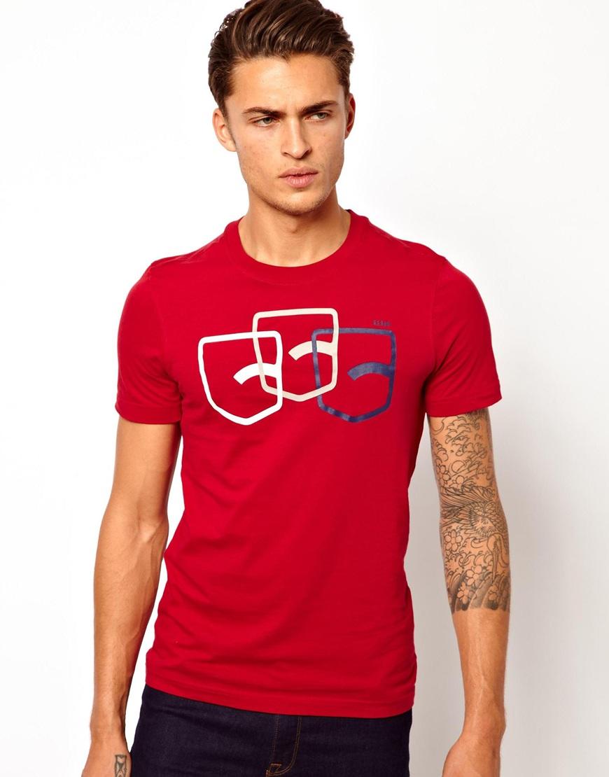 aa1b7853c63 Lyst - G-Star RAW G Star Tshirt Fraser Back Pocket Print in Red for Men