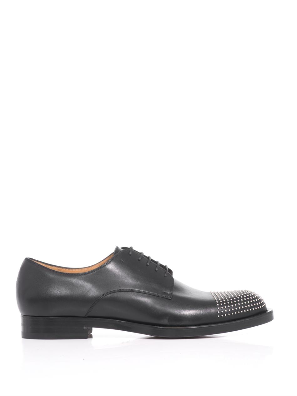gucci studded leather derby shoes in black for lyst
