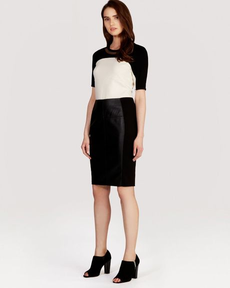 Karen Millen Faux Leather And Jersey Collection Skirt In Black Lyst