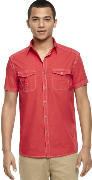 Kenneth cole reaction short sleeve ring snap shirt in red for Mens shirts with snaps instead of buttons