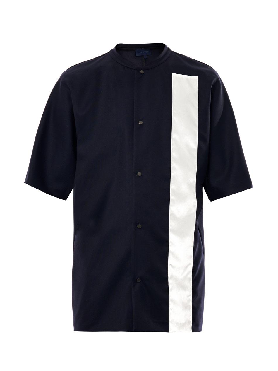 Lanvin Velvet Stripe Button Down T-shirt in Blue for Men ...