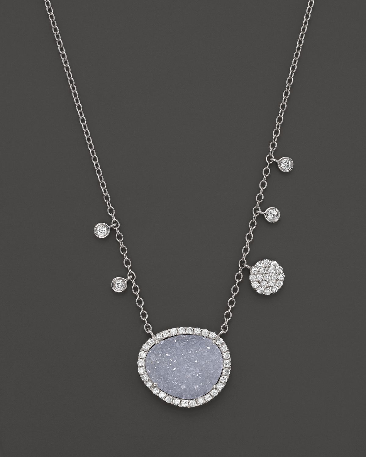 meira t 14k white gold druzy and necklace 16 in