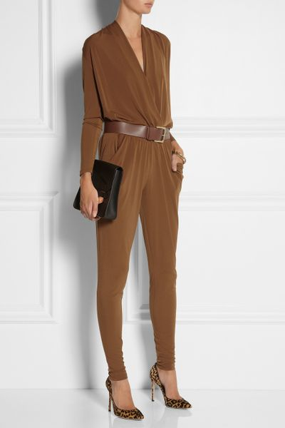 Michael Michael Kors Stretch Jersey Jumpsuit In Brown Lyst