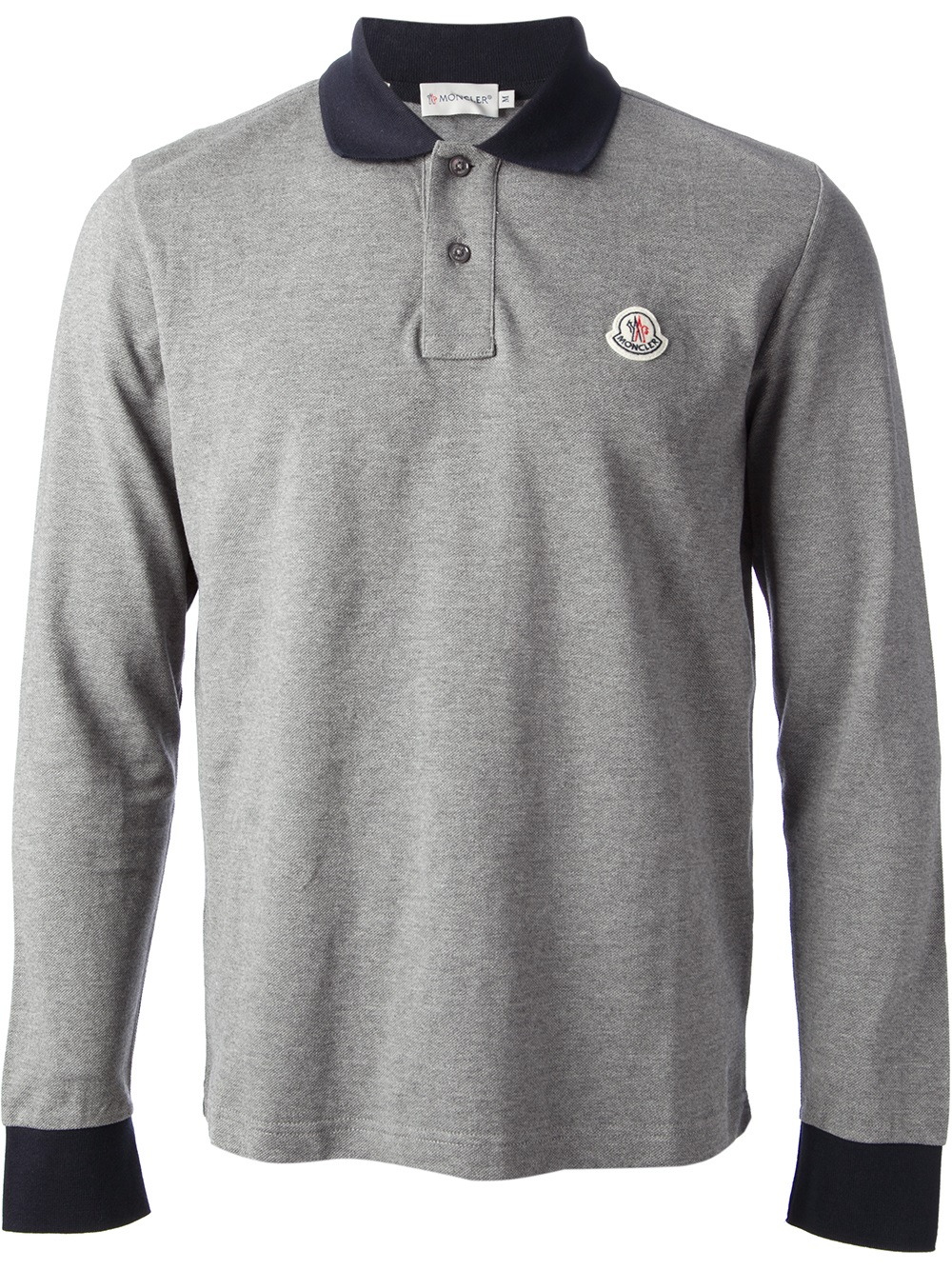 0eb95d3f8174 Moncler Long Sleeve Polo Shirt in Gray for Men - Lyst