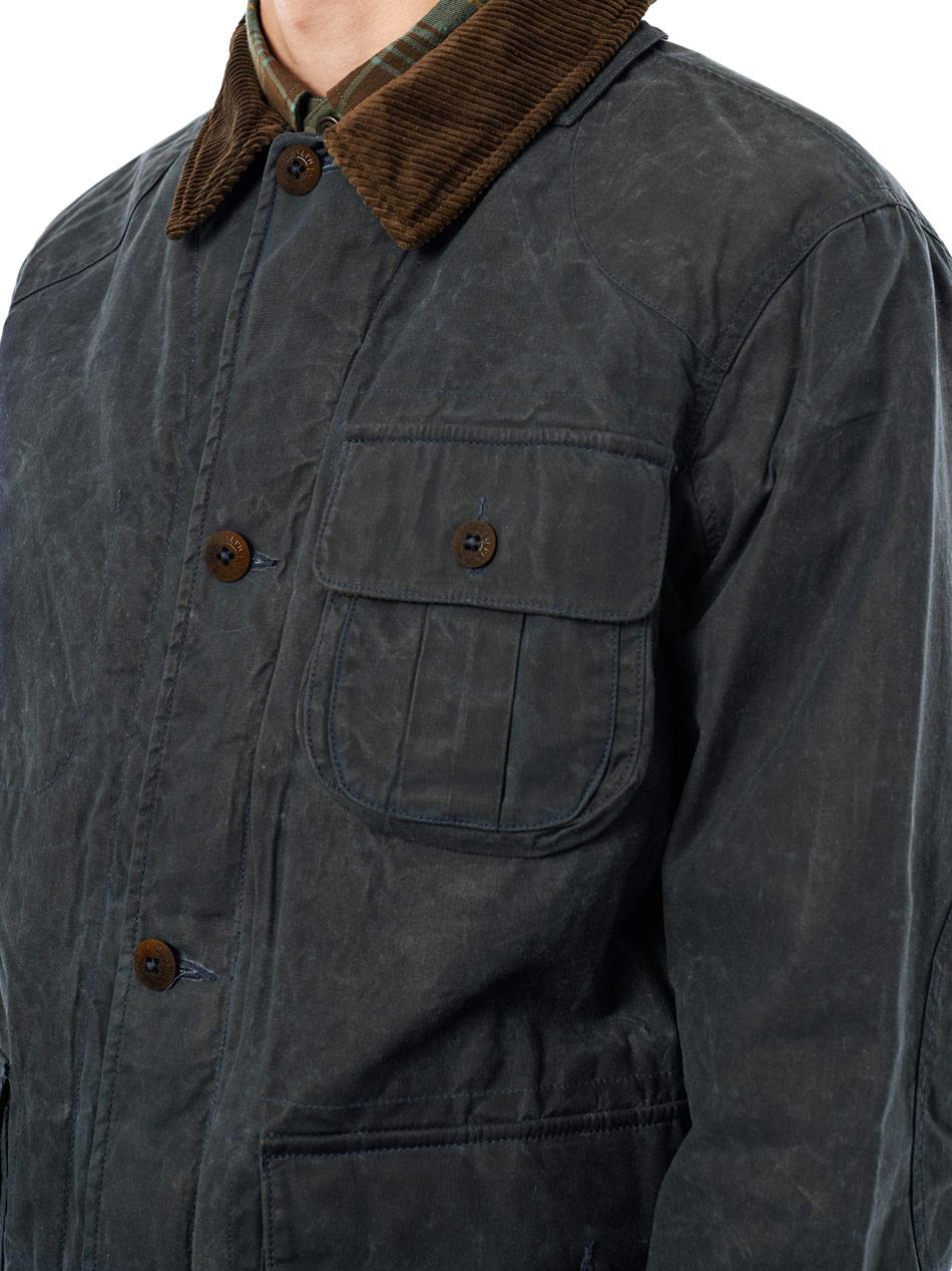 Polo Lauren Cotton Field Ralph Men Blue Waxed Jacket For n0mNv8wyO