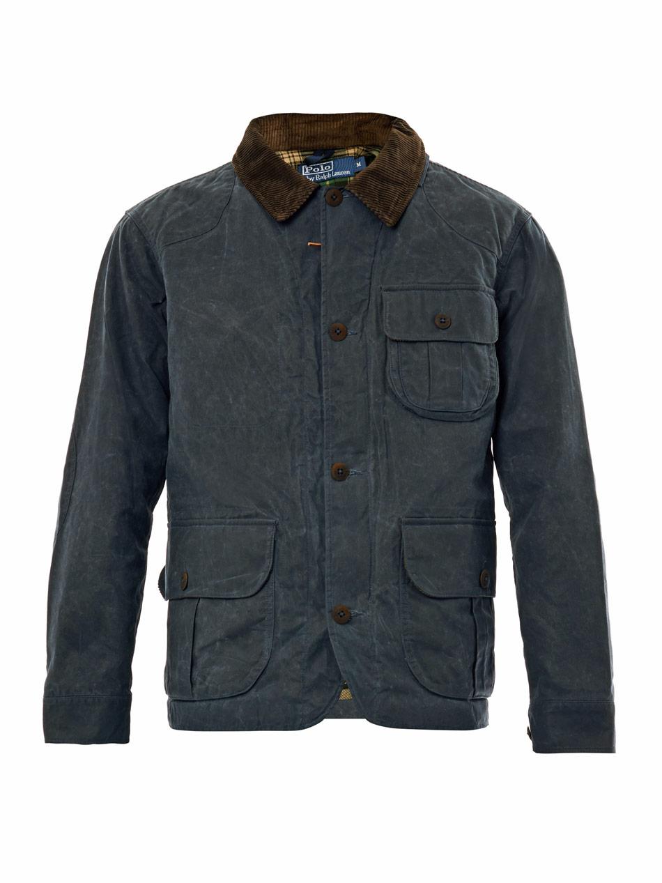 Polo Ralph Lauren Waxed Cotton Field Jacket In Blue For