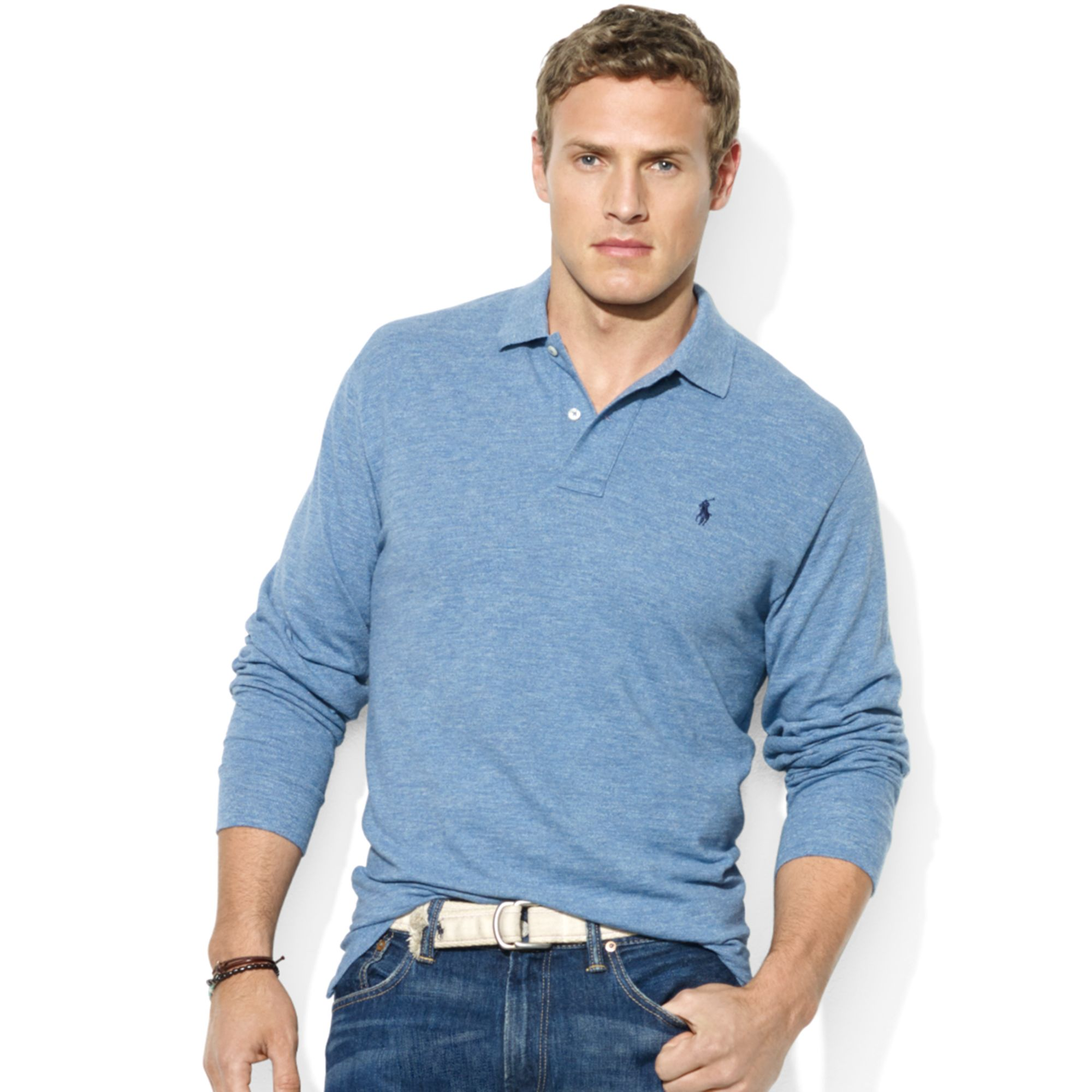 polo ralph lauren classic fit mesh polo long sleeve .