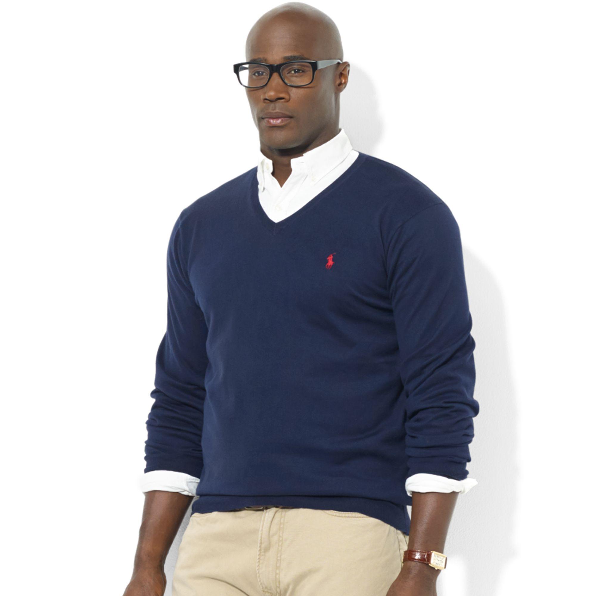 Ralph lauren Vneck Pima Cotton Sweater in Blue for Men | Lyst