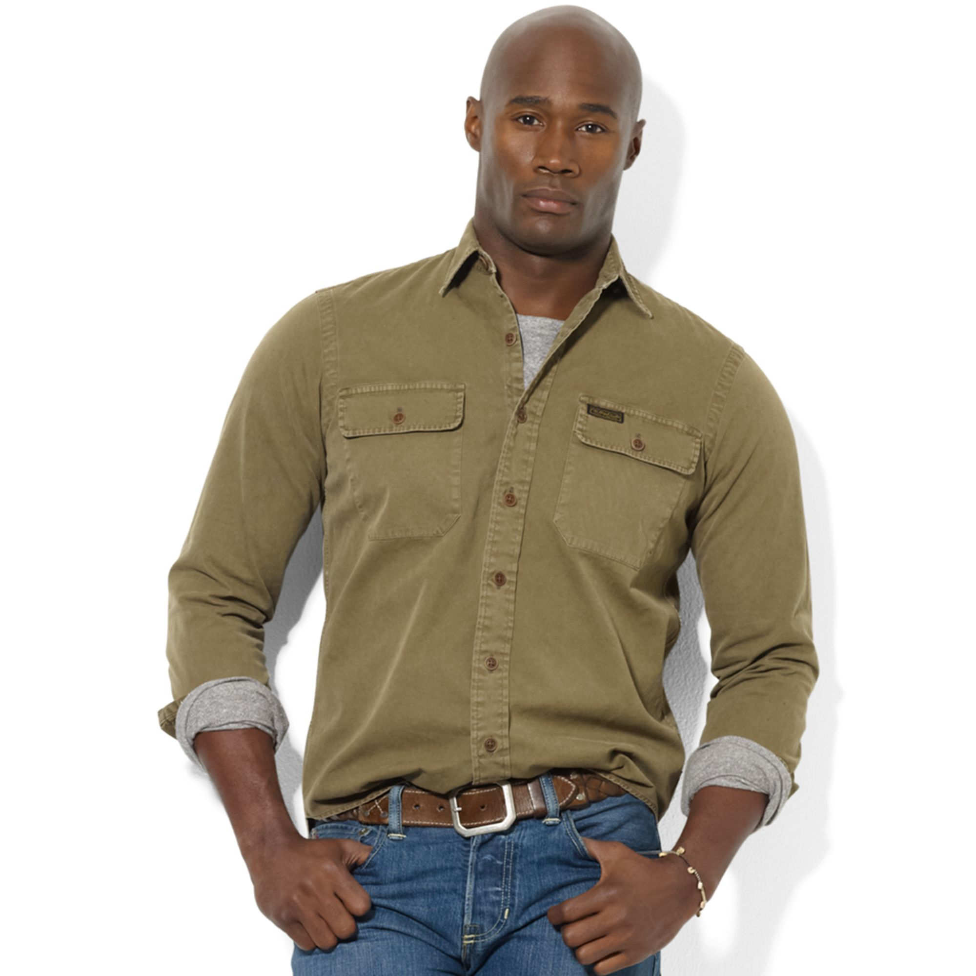Marein Polo Ralph Lauren Shirt Cotton Twill Military Work Shirt