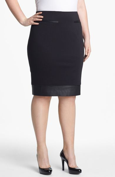 sejour faux leather trim ponte knit skirt in black lyst