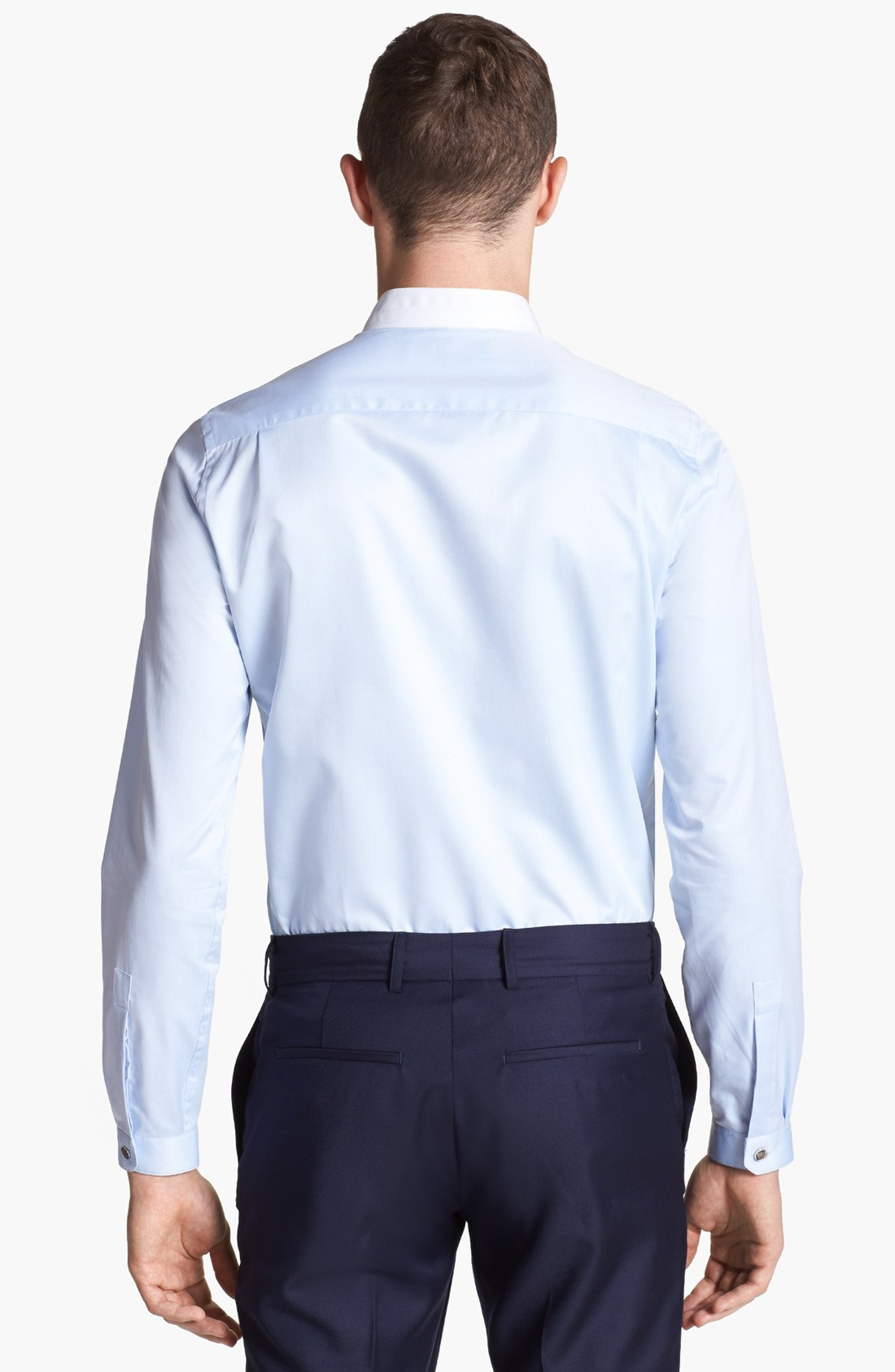 Lyst the kooples round collar dress shirt in blue for men for Round collar shirt men