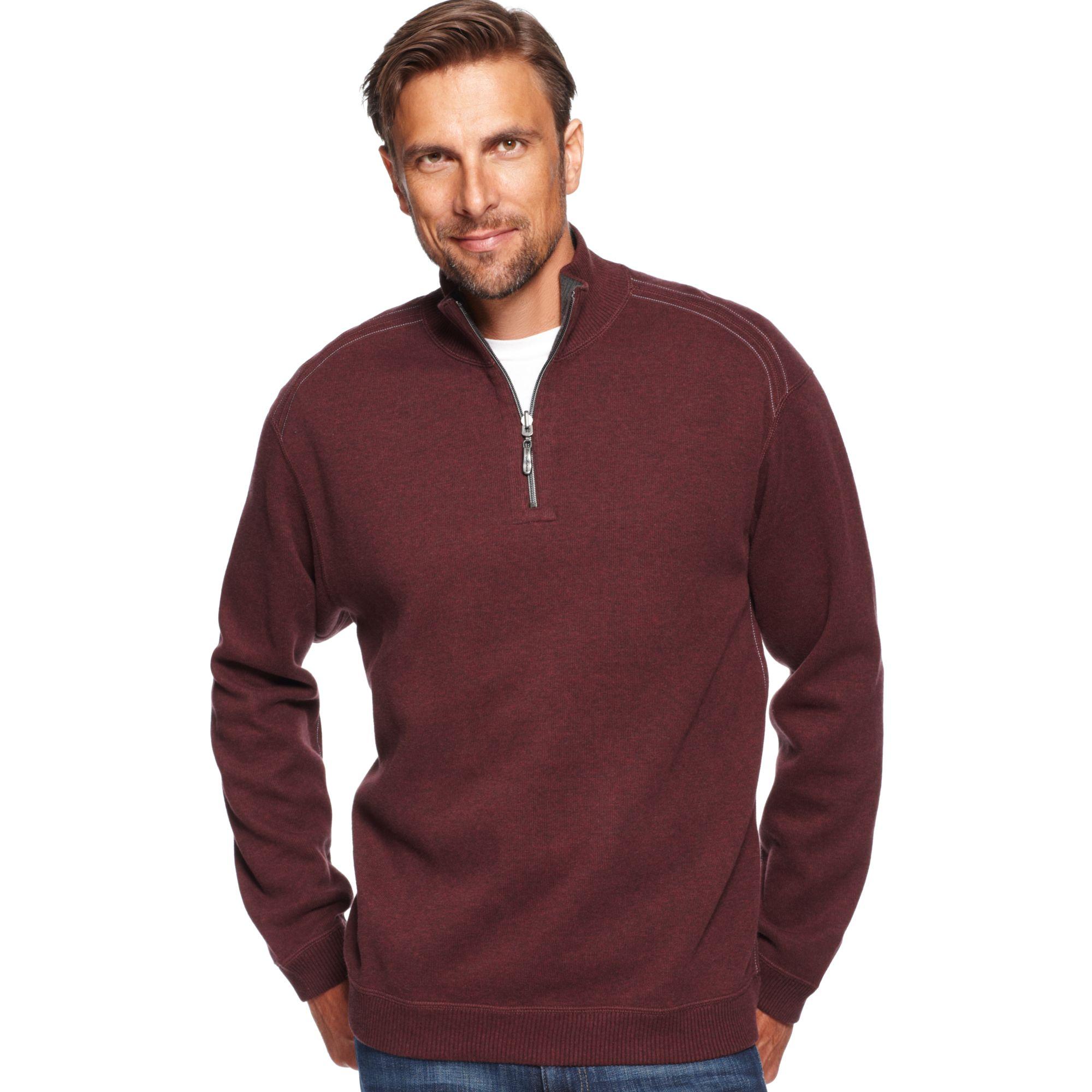Tommy Bahama Flip Side Pro Half Zip Sweater In Red For Men