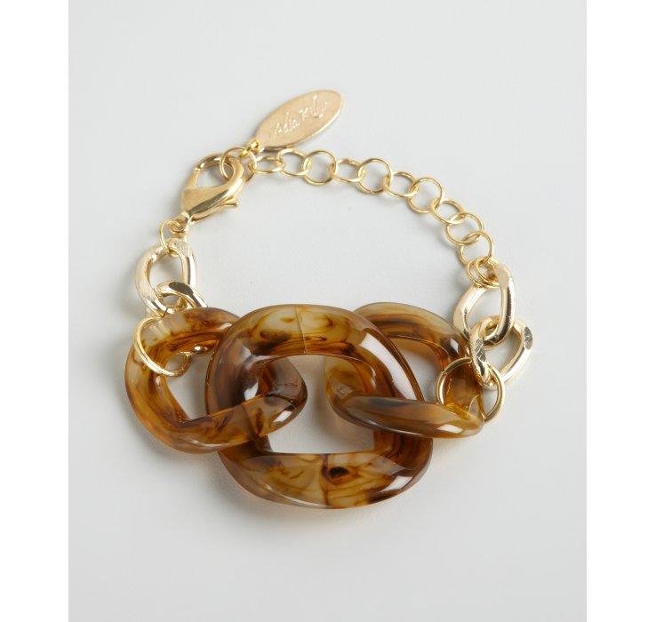 Adia kibur Gold Chain and Tortoise Print Acrylic Link ...