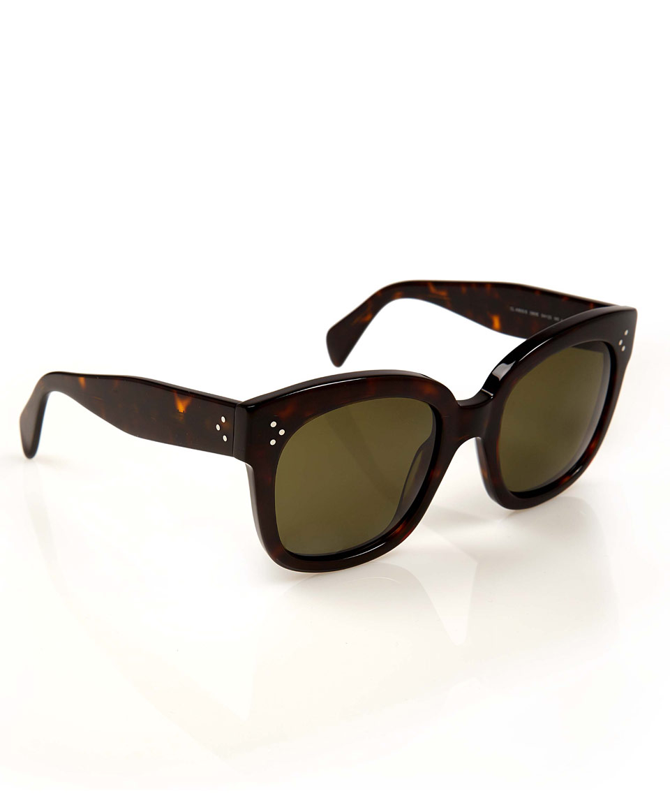 277a66042505 Céline Tortoiseshell Audrey Square Frame Sunglasses in Brown - Lyst