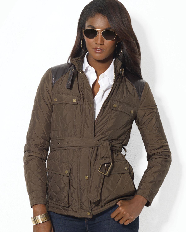 Lauren by ralph lauren Leather Trim Quilted Jacket in Brown | Lyst