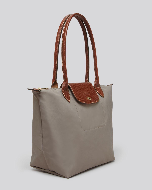 longchamp le pliage medium shoulder tote in brown lyst. Black Bedroom Furniture Sets. Home Design Ideas