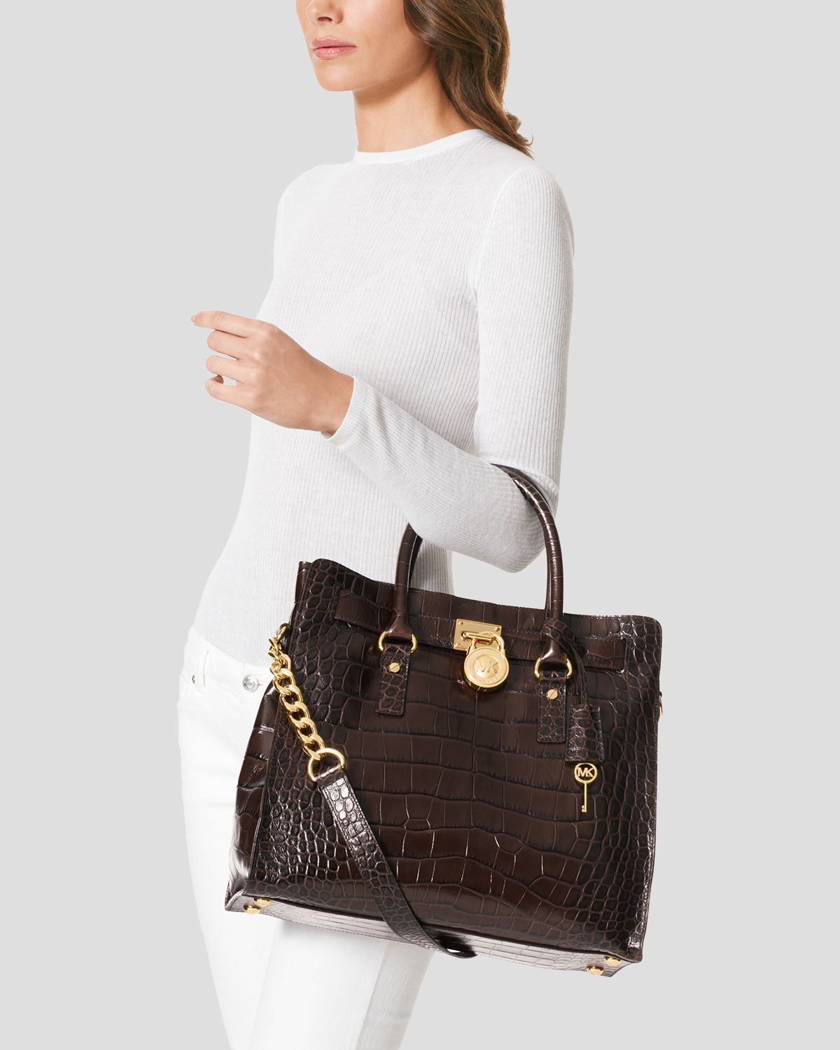 2f4eaaf3b23a MICHAEL Michael Kors Tote Hamilton Large North South Croc Embossed ...