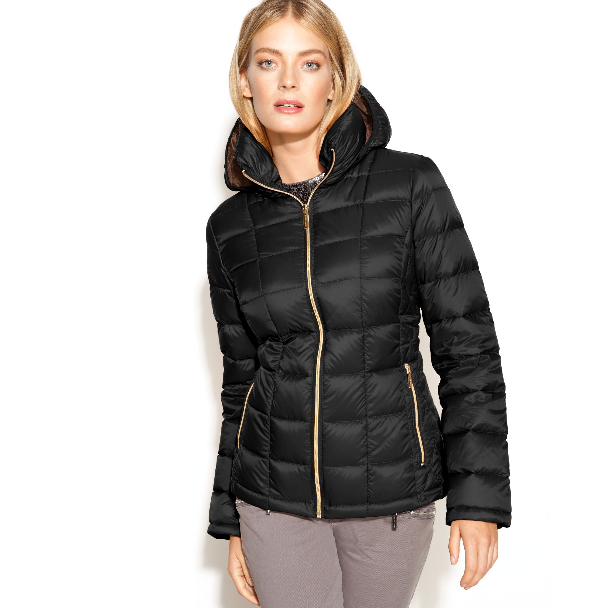 6febd632571e Lyst - Michael Kors Michael Hooded Quilted Down Packable Puffer Coat ...