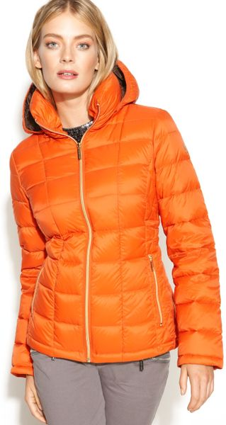 Michael Kors Hooded Quilted Down Packable Puffer in Orange ...