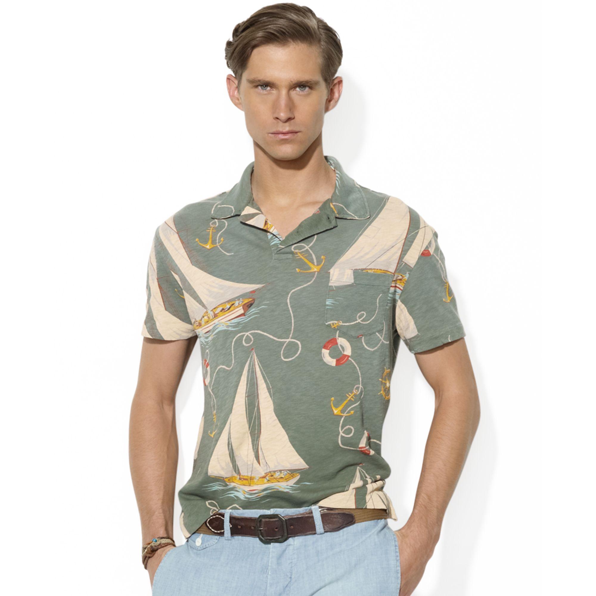 Ralph lauren short sleeved sail boat print gauze jersey for Ralph lauren polo jersey shirt