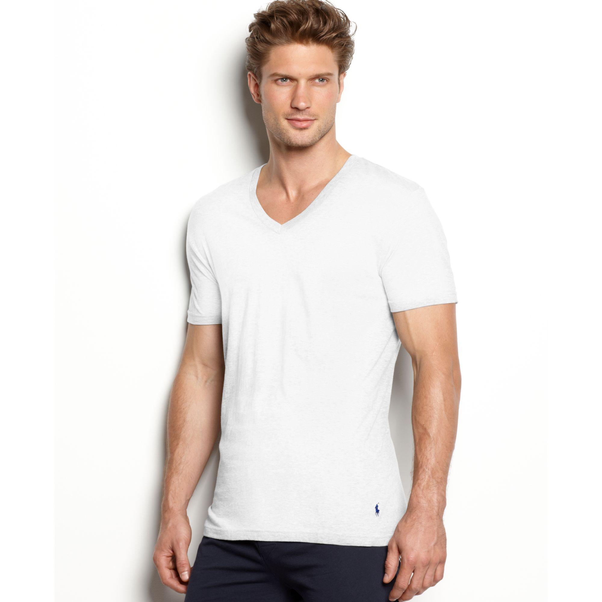 lyst ralph lauren slim fit stretch v neck t shirt 2 pack in white for men. Black Bedroom Furniture Sets. Home Design Ideas