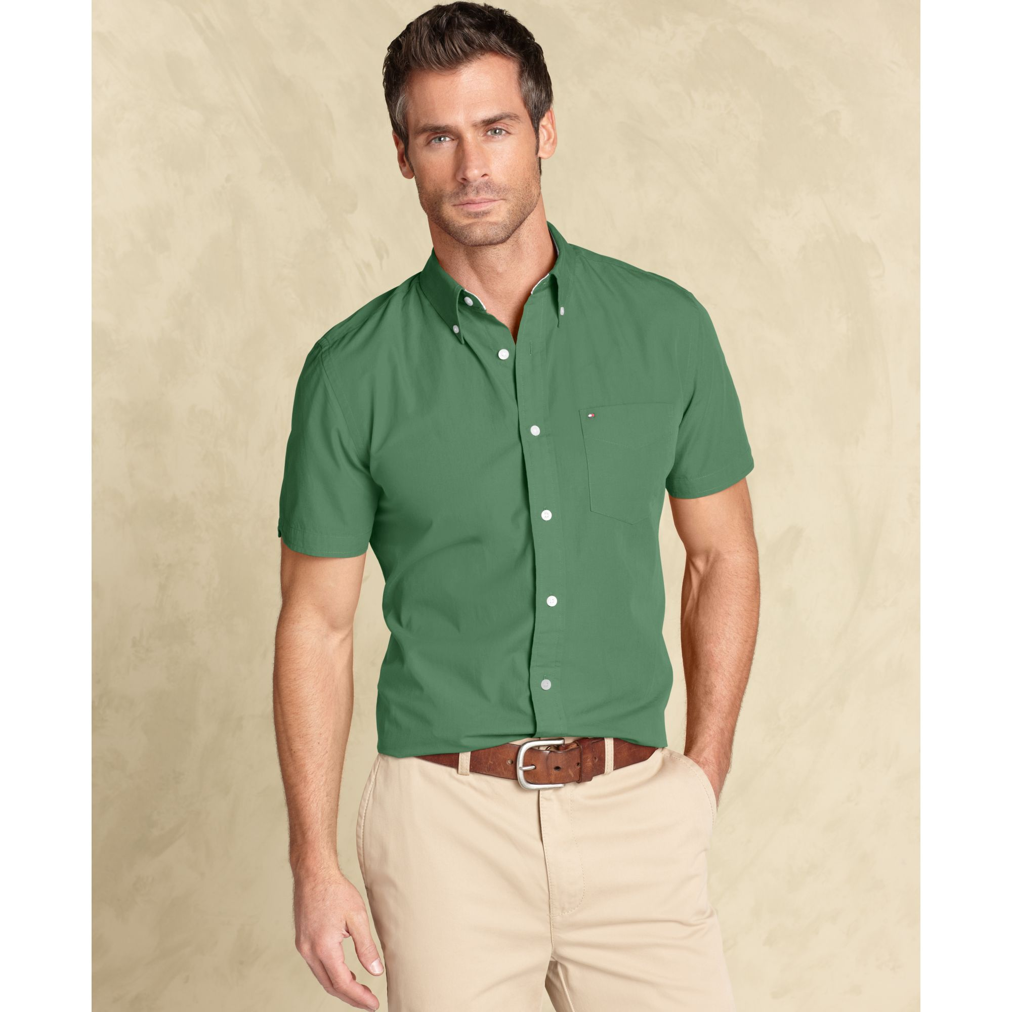Tommy hilfiger Max Fashion Slim Fit Button Down Shirt in Green for ...