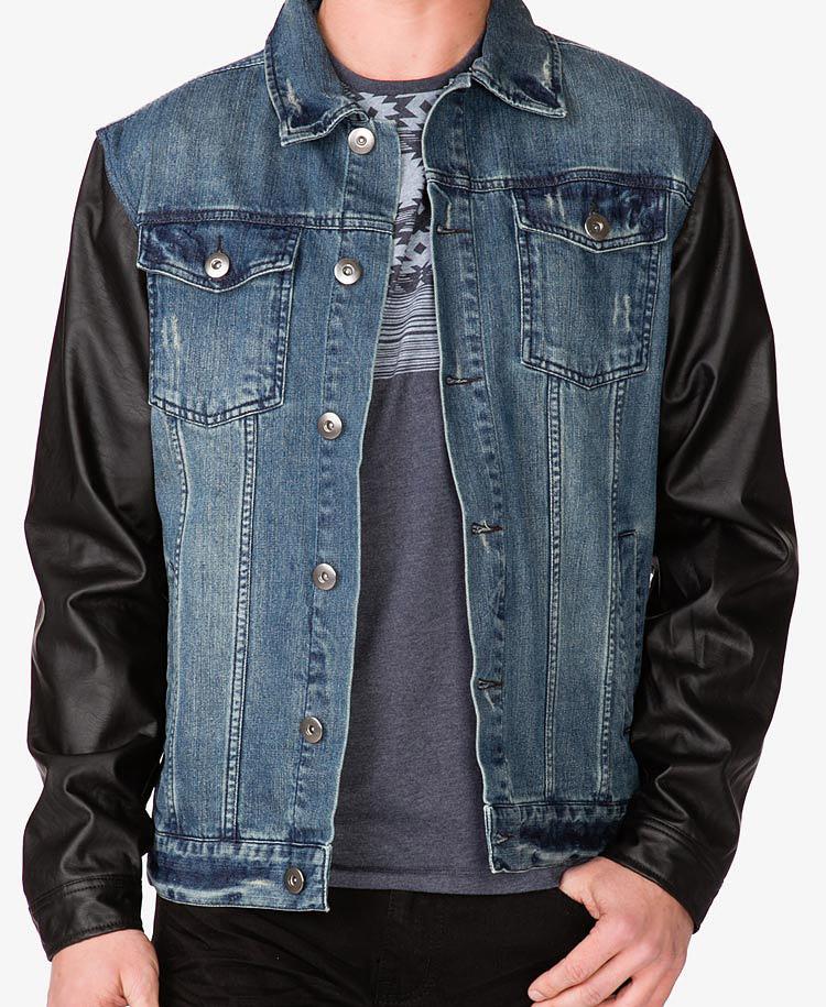 c16fe91fe Forever 21 Black Faux Leather Sleeve Denim Jacket for men