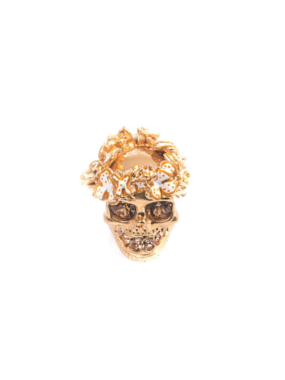 Alexander mcqueen Flower Crown Skull Ring in Metallic