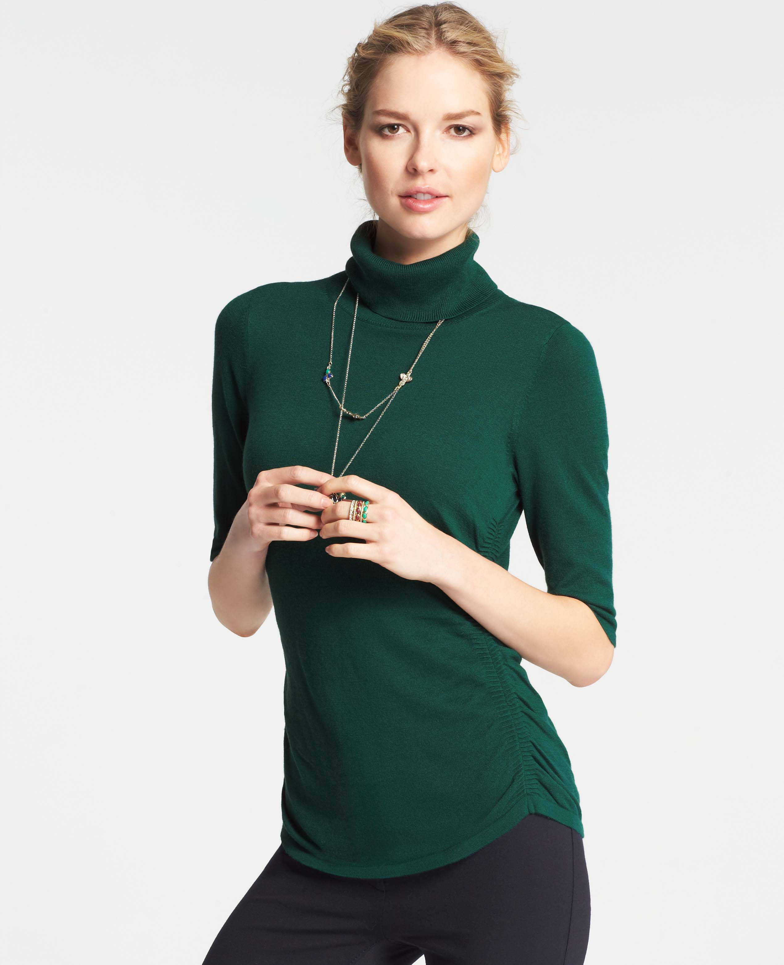 Ann taylor Ruched Short Sleeve Turtleneck Sweater in Green | Lyst