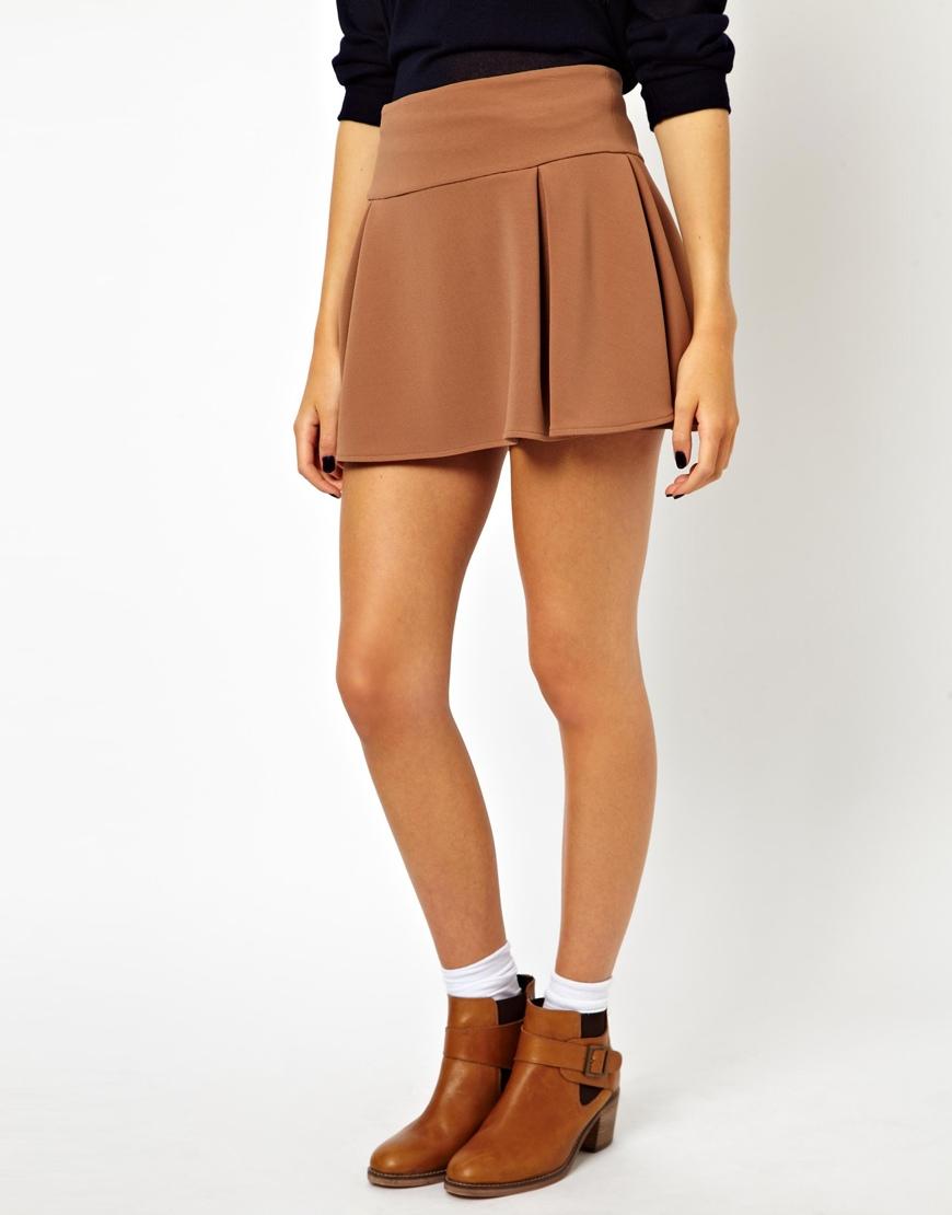 asos box pleat mini skater skirt in brown lyst