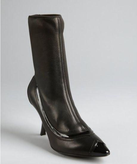 bottega veneta black leather kitten heel stretch shaft