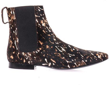 burberry prorsum animal print ponyhair chelsea boots in
