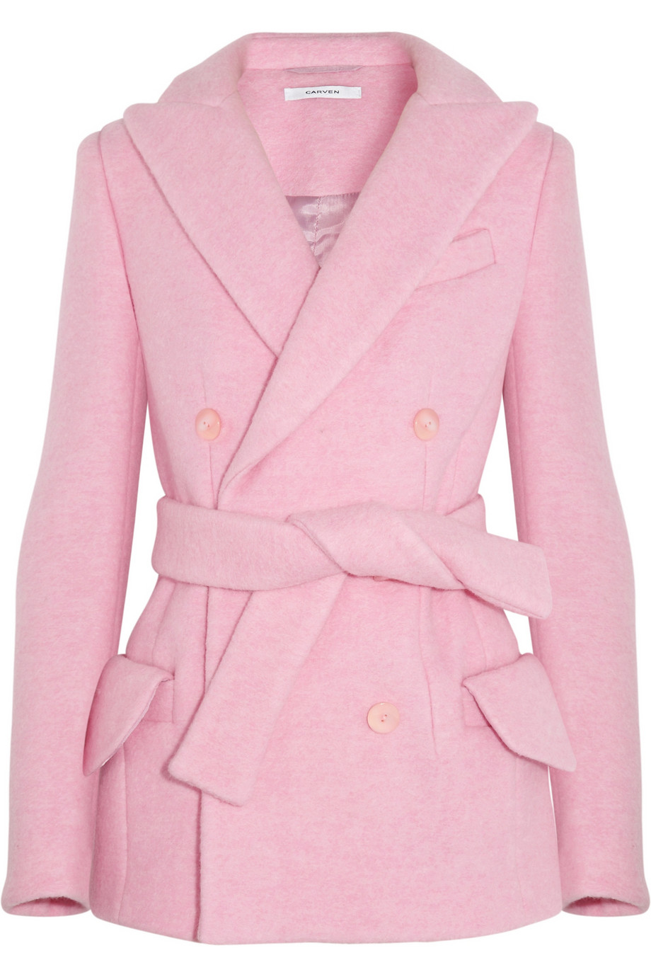 Carven Doublebreasted Brushed Woolblend Coat in Pink | Lyst