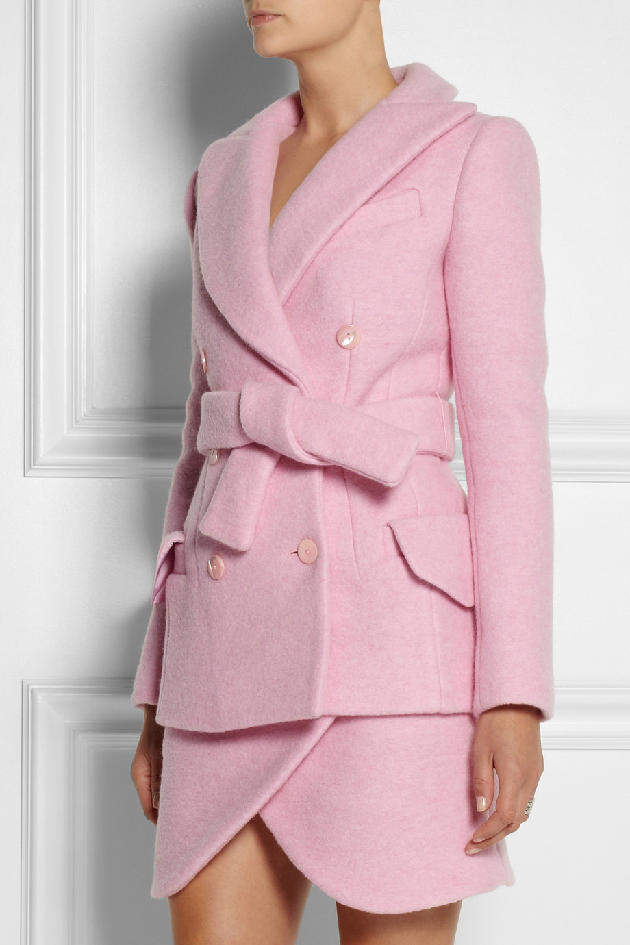 Carven Doublebreasted Brushed Woolblend Coat In Pink Lyst