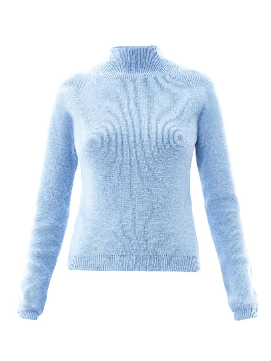 Carven Turtleneck Wool Sweater in Blue | Lyst