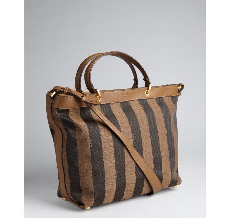 Lyst Fendi Brown And Black Logo Stripe Canvas Top Handle