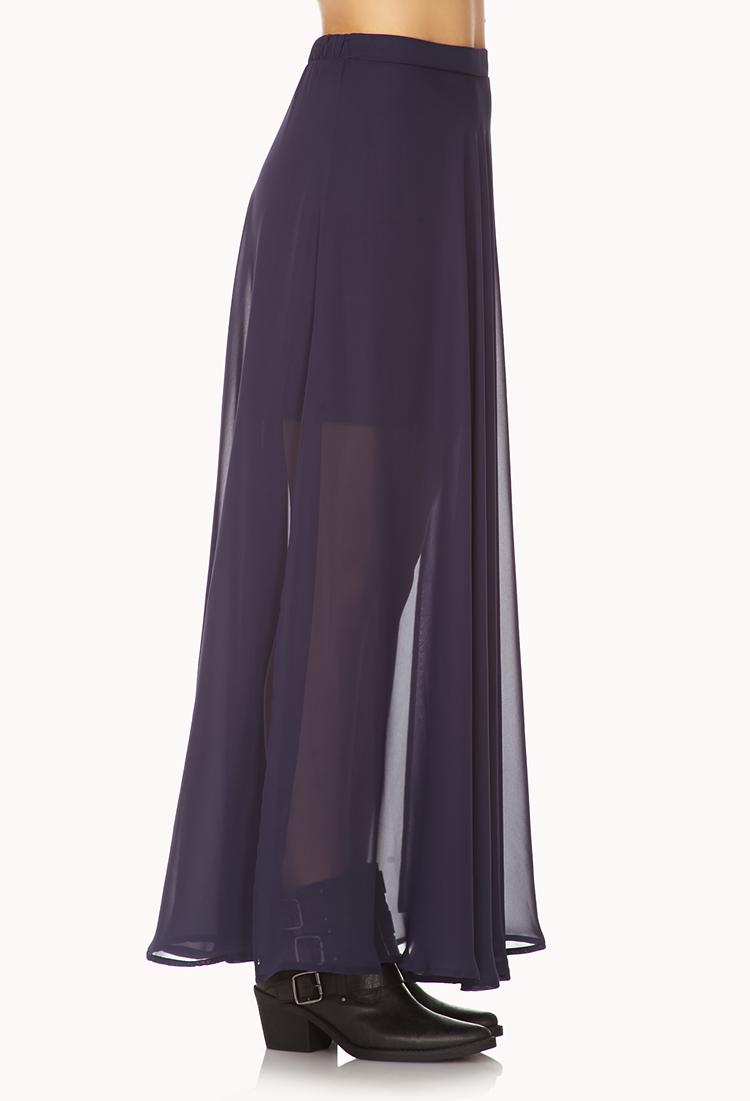 Lyst - Forever 21 Slit Chiffon Maxi Skirt in Blue