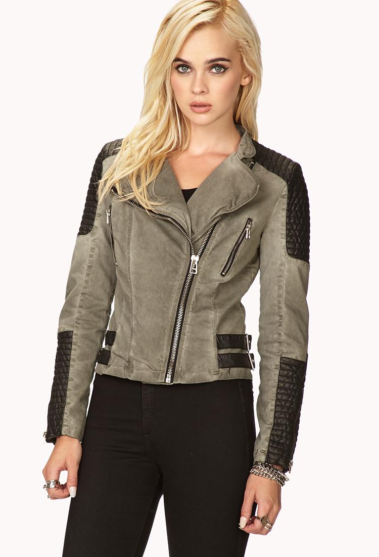Forever 21 Moto Babe Denim Jacket in Olive/Black (Gray) - Lyst