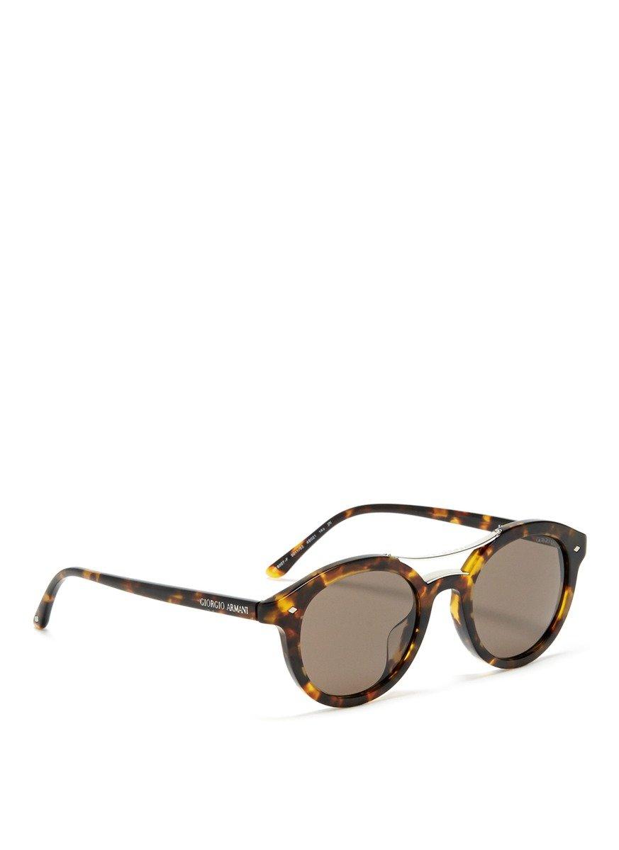 068a706a03 Giorgio Armani Brown Tortoise Shell Round Sunglasses for men