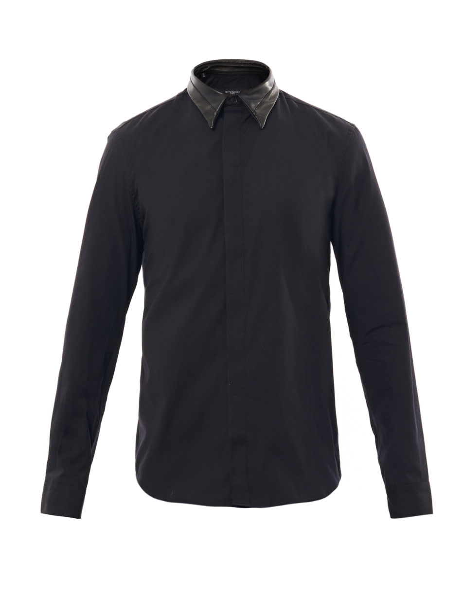 Best Lyst - Givenchy Leather Collar Shirt in Black for Men SF06
