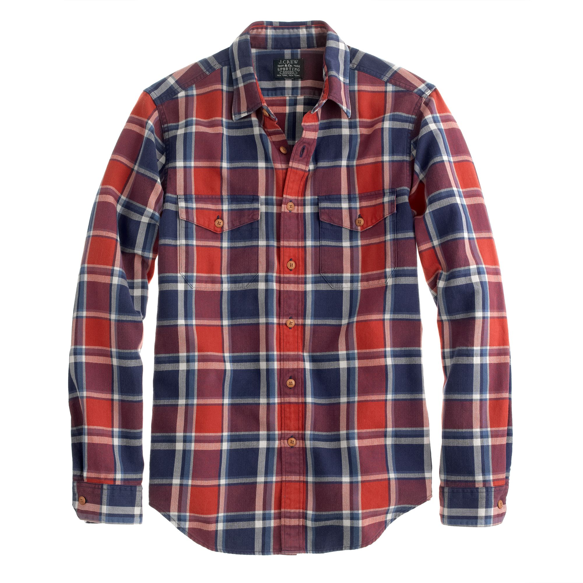 J Crew Flannel Shirt In Cerise Plaid In Red For Men Lyst