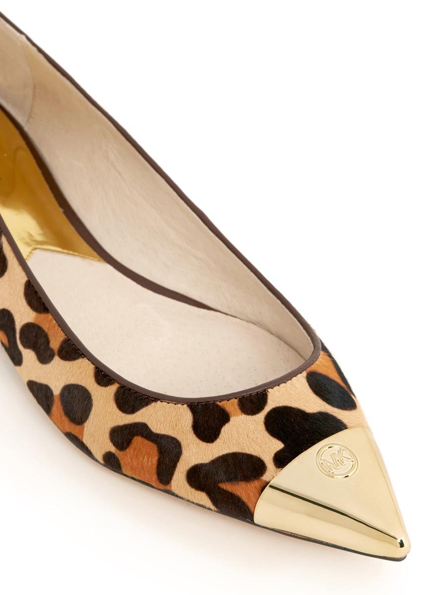 06079f98acf66 Lyst - Michael Kors Paxton Toecap Leopard-print Flats in Brown