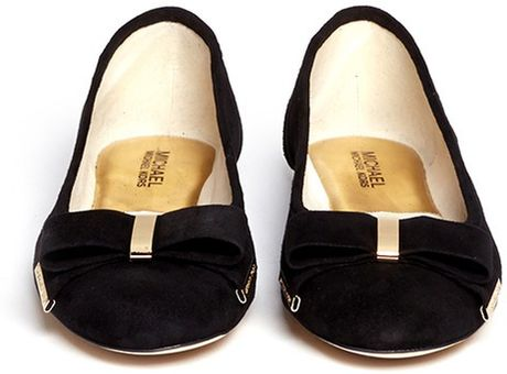 michael michael kors delphine bow suede ballerina flats in black lyst. Black Bedroom Furniture Sets. Home Design Ideas