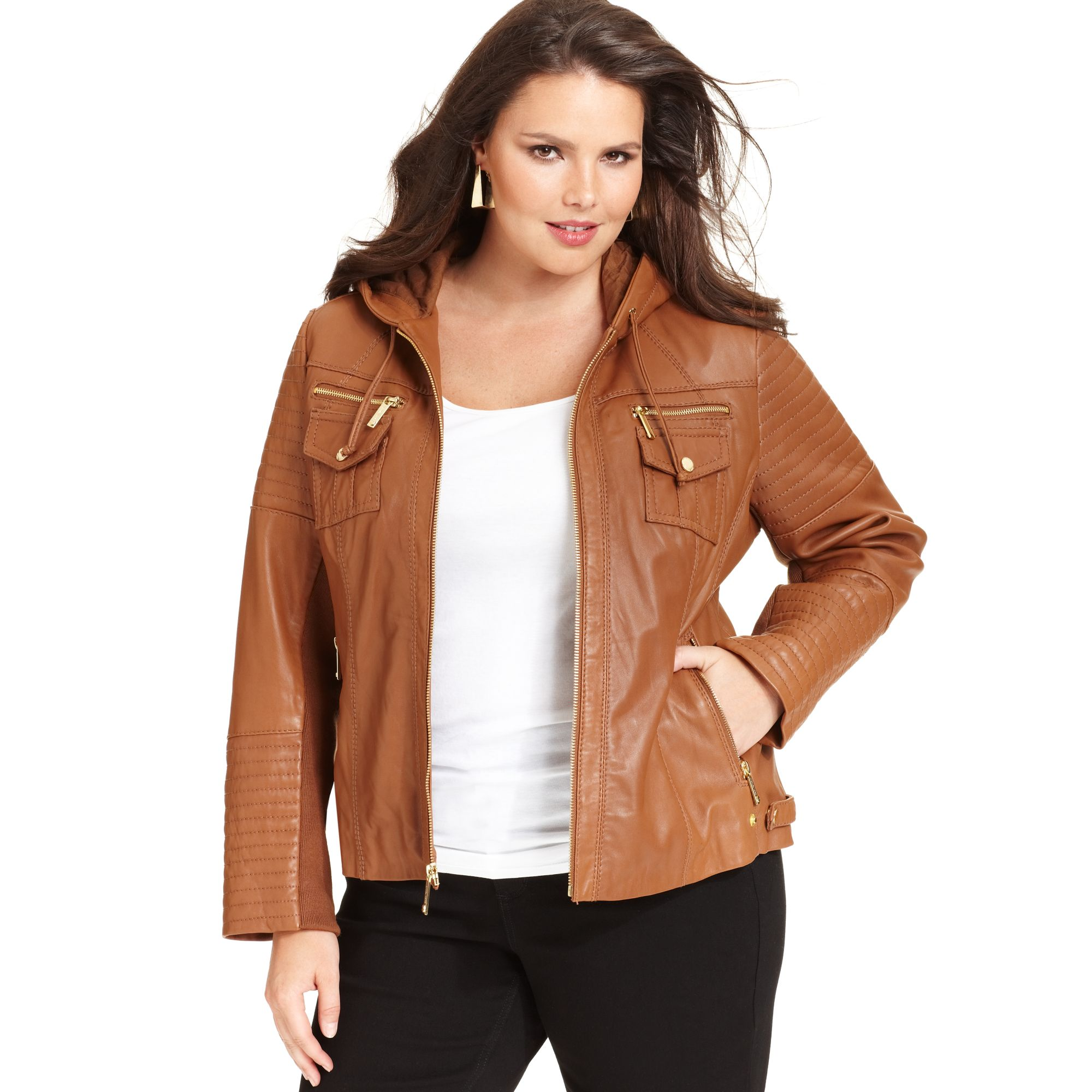 Michael Kors Leather Hooded Jacket In Brown Lyst