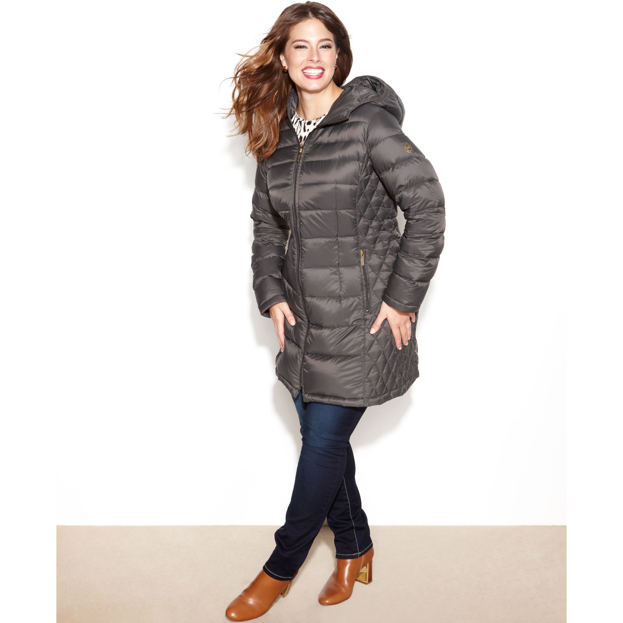 6eb22d916 Michael Kors Gray Hooded Quilted Down Packable Puffer