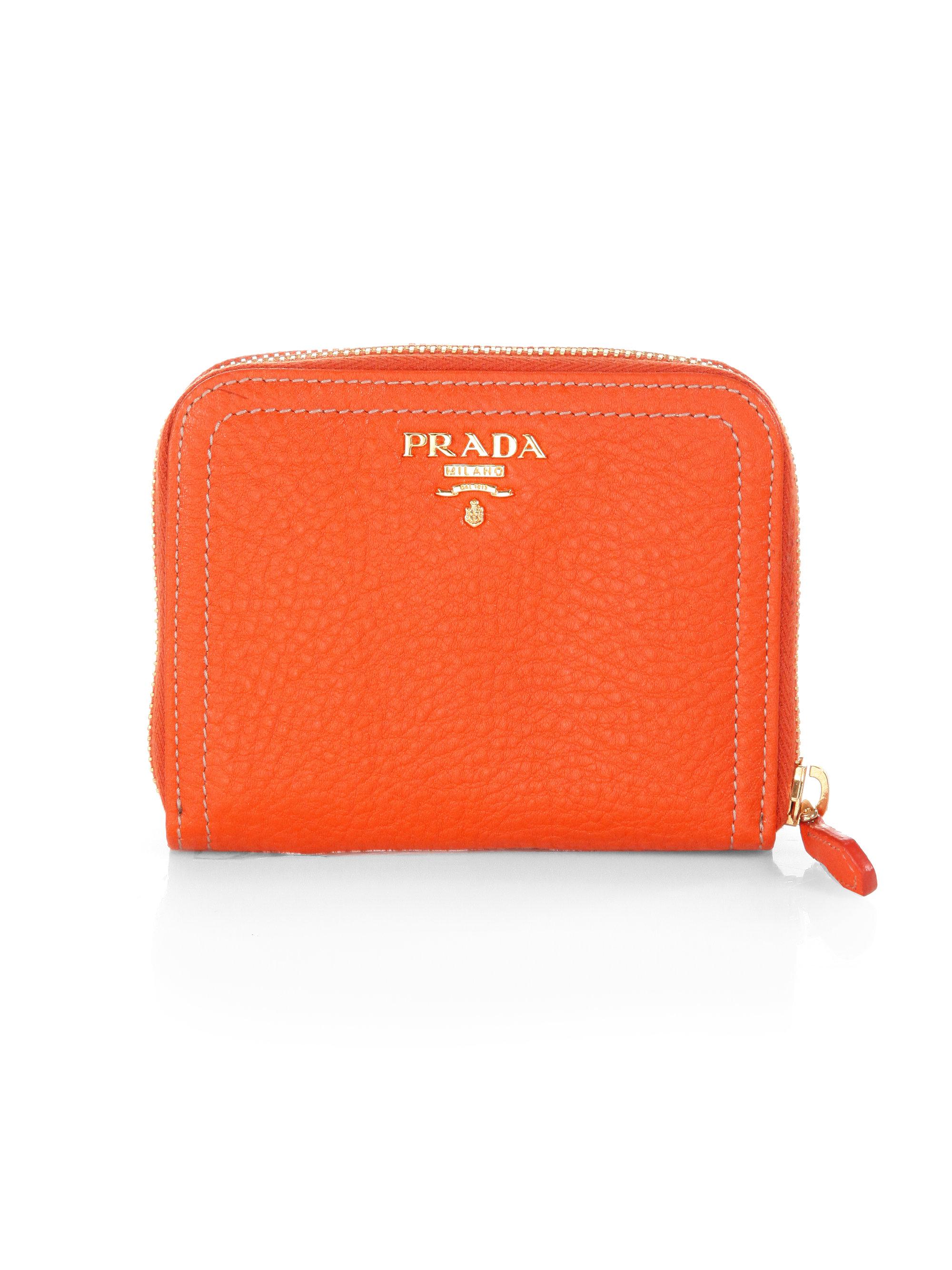 Prada Daino Small Zip Around Leather Wallet in Orange (PAPAYA) | Lyst