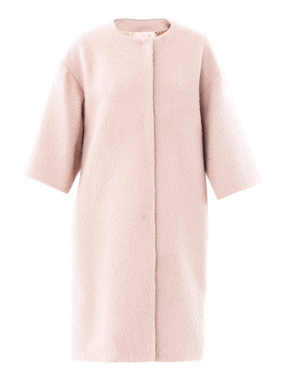 Roksanda Collarless Wool Swing Coat in Pink | Lyst