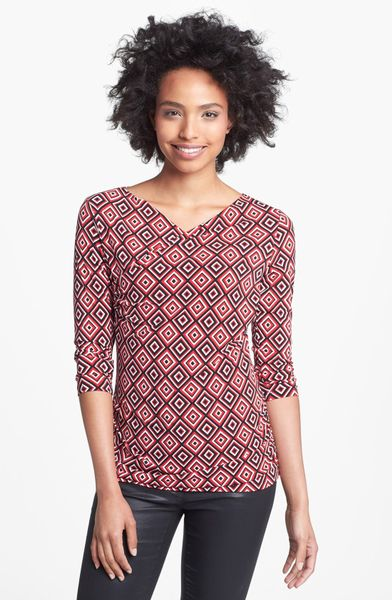 Vince Camuto High Wrap Side Ruched Top In Red Radiant Red