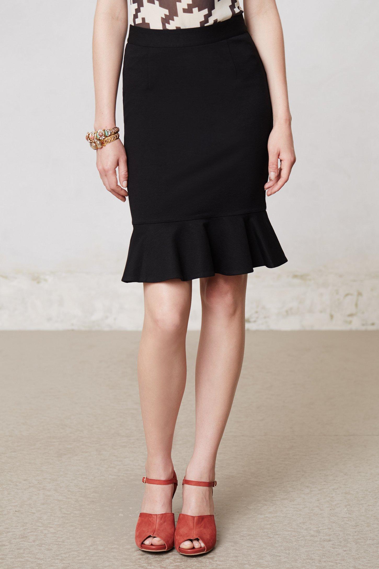 Anthropologie Ruffled Ponte Pencil Skirt in Black | Lyst